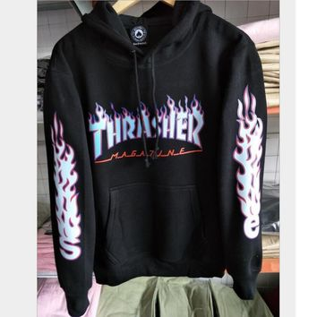 Thrasher letter flame men and women hooded sweater teen sports coat Black
