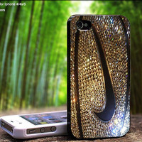 Nike Logo Swoosh on Golden Glittery Basketball Design For iPhone 5 / 4 / 4S - Samsung Galaxy S3 / S4 ( Black / White case )