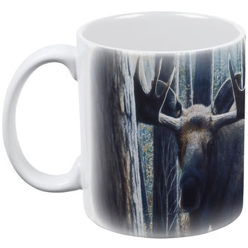 Moose King of the Northwoods White All Over Coffee Mug