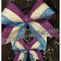 Cheer Bow & Keychain Set- Purple, Silver and Silver Blue Stripe Cheer/Dance Ribbon