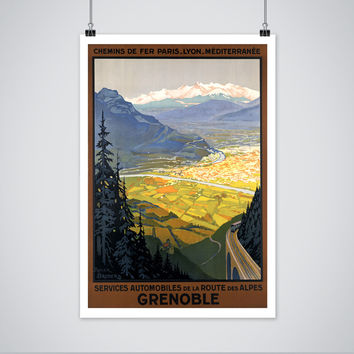 Grenoble France Travel Poster - Vintage 1920s French Alps Art Print