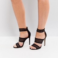 Public Desire Black Mesh Caged Heeled Sandals at asos.com