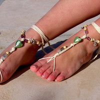 Crystal beads Barefoot sandals. wedding sandals. hippie barefoot sandals , barefoot sandles, crochet barefoot sandals, , yoga, anklet