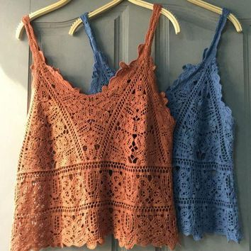 ESBON1O Day First Vest hollow lace shirt blouses summer sleeveless blouse color outside the ride Waichuan knitted crochet straps