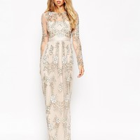 Needle & Thread Tierred Imprint All Over Embellished Maxi Dress