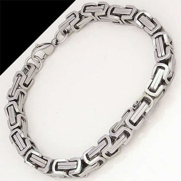 stainless steel bracelet men punk rock jewelry high quality pulseira masculina byzantine chain link bracelets for women VB105
