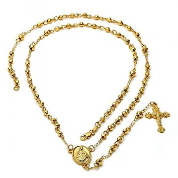 Gold Layered 5.204.004.28 Thin Rosary, Sagrado Corazon de Jesus and Crucifix Design, Polished Finish, Golden Tone