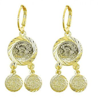 Gold Layered 02.170.0080 Chandelier Earring, Diamond Cutting Finish, Gold Tone