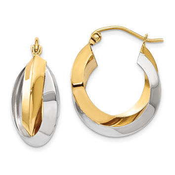 14k Two-tone Polished Knife-edge Double Hoop Earrings TH330