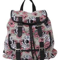 Day Of The Dead Skull Rose Slouch Backpack