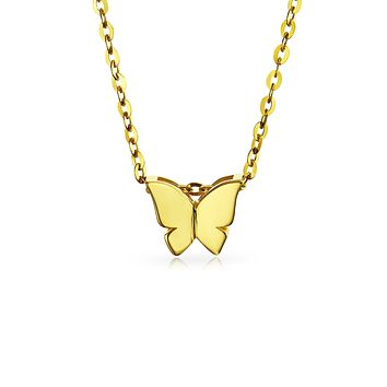 14K Yellow REAL Gold High Station Pendant Necklace