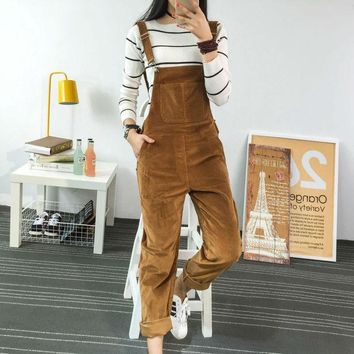 CREYONHS 2017 Spring Fashion Regular Corduroy Womens Rompers Pockets Full Length Overalls For Women Bodysuit Rompers Womens Jumpsuit