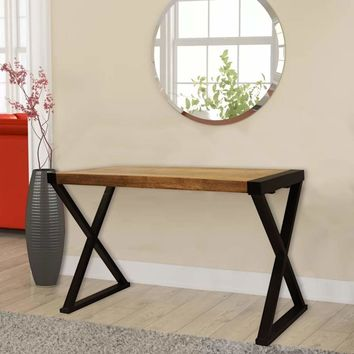 Industrial Style Wooden Console Table with X Shaped Metal Side Panels, Brown and Black By The Urban Port