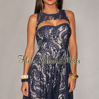 Navy-Blue Nude Illusion Cut-Out Dress