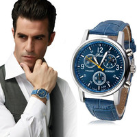 Casual Luxury Fashion Hot Leather quartz watch men Analog Watch Watches famous brand 2017 new watches men military clock man