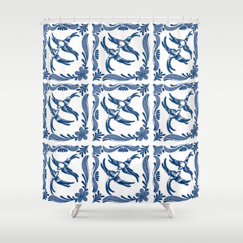 Blue and white swallows birds chinoiserie china porcelain toile asian ginger jar nature pattern Shower Curtain by IGalaxy