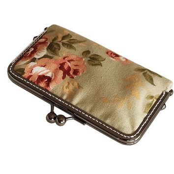 Women Wallet with cards slot - Kiss Lock wallet - floral cotton canvas - Black Nickel Frame
