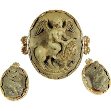 Stunning Italian lava cameo set, large brooch and earrings, Victorian era, stamped 18K, 14K gold, museum quality