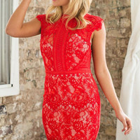 Red Cap Sleeved High Neckline Mini Lace Dress with Back Zipper