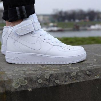 NIKE Air Force Popular Unisex Casual High Tops And Low Help Running Sport Shoes Sneakers Pure White I