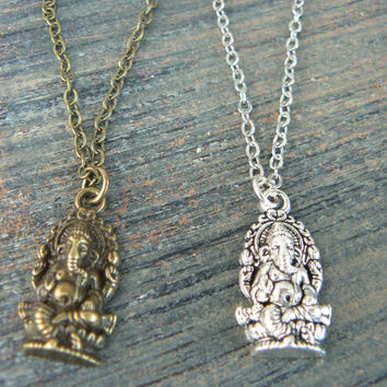 best friends necklace SET of TWO Yoga necklace Ganesha necklaces pendant necklaces