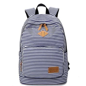 Unisex Navy Striped Travelling Bag School Bag Canvas Casual Backpack Bookbag Daypack