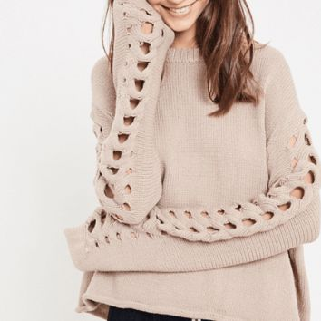 Women's Cable Knit Sweater with Sleeve Cut-Outs