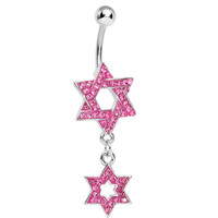 Pink Gem Paved Double Star of David Dangle Belly Ring