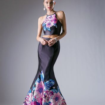 Long Prom Two Piece Set Formal Dress Floral