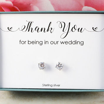 Thank you for being in our wedding Bridesmaids gifts Sterling silver earrings 5mm CZ studs Bridal party gifts Bridesmaid box thank you gift