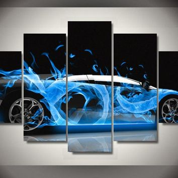 Blue Sports Exotic Car Fire Flames Smoke Panel  Wall Art Canvas Print Poster