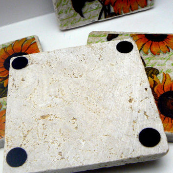 Sunflower Natural Stone Tile 4x4 Drink Coaster Set of 4 Coasters Fall Feel Sun flower