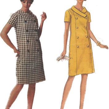 Mid Century Mod Double Breasted Shift Vintage Dress Pattern
