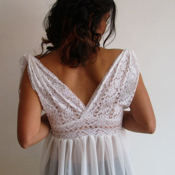 Bridal Lingerie Sheer Lace Nightgown Gown Wedding Sleepwear Honeymoon White Lace and Chiffon
