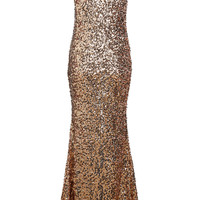 Gold V Neck Sleeveless Sequined Maxi Dress - Sheinside.com