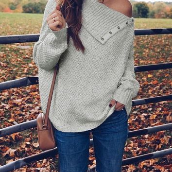 Grey Patchwork Cut Out Irregular One Shoulder Fashion Pullover Sweater