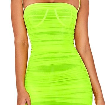 Light Bright Neon Green Sheer Mesh Sleeveless Spaghetti Strap Straight Neckline Ruched Bodycon Mini Dress