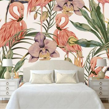 beibehang Modern fashion classic wall paper simple hand painted tropical rain forest flamingo pastoral murals backdrop wallpaper