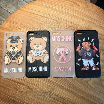 Moschino Couple Cute Cartoon Letter Bear Flamingos Print iPhoneX/8/6S Soft Silica Gel Phone Case iPhone7 Plus Apple Phone Shell