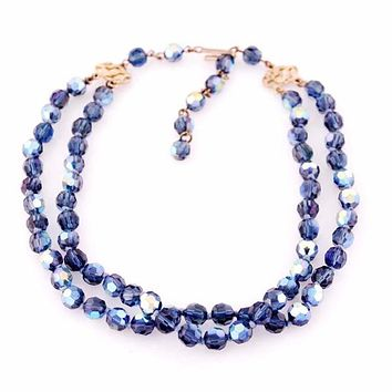 Vintage Aurora Borealis Blue Crystal Necklace 1950S