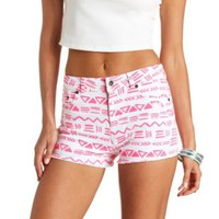 Aztec Print Cut-Off High-Waisted Denim Shorts - Multi
