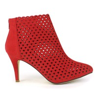 Fahrenheit Carol-01 Eye-lit High Heel Booties in Red @ ippolitan.com