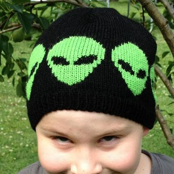 Small Child Size Alien Beanie Knitted in Acrylic Yarn