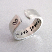 Hammered Secret Message Ring - YOU ARE LOVED-