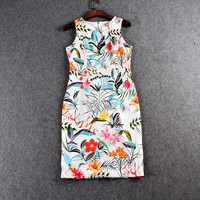 Colorful Flower Printed Sleeveless Zipper Back Mini Dress