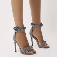 Lucid Frill Strap Barely There Heels in Grey Shimmer