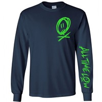 All Time Low Scratch Long Sleeve Navy Tee