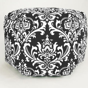 "24"" Floor Ottoman Pouf Pillow Black & White - Damask Contemporary Modern Print"
