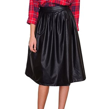 Mid Town Midi Skirt - Black Leather