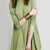 Dark Sea Green Cut Out Back Long Sleeve Dress